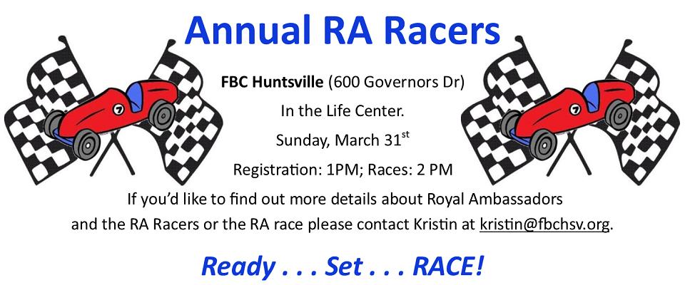 RA Racers Event @ Huntsville FBC